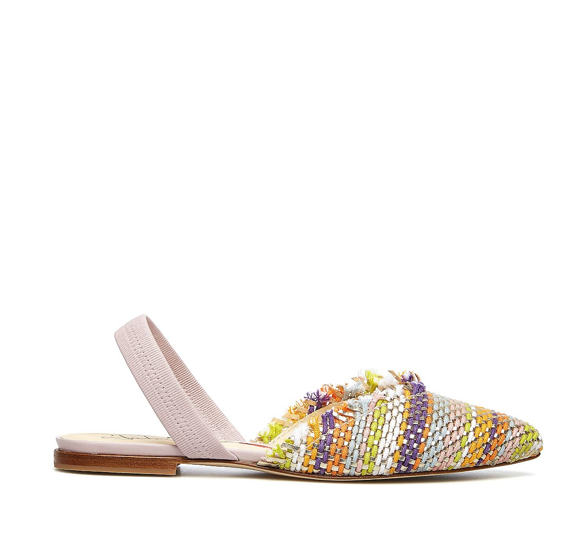 Sandalo in tessuto intrecciato