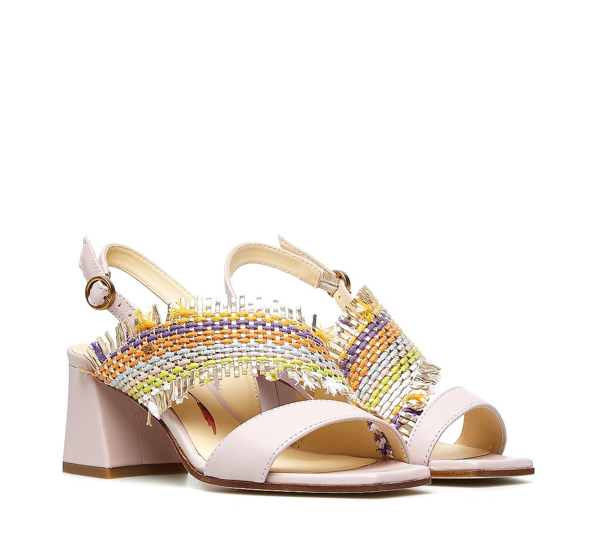 Fabric and calfskin sandals