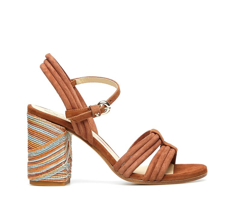 Weaving sandals in woven calfskin