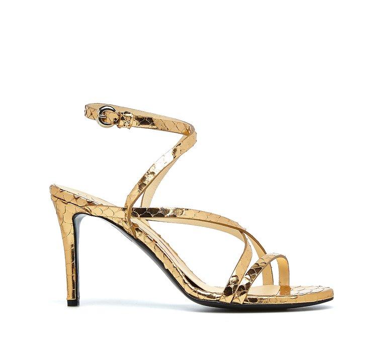 Reptile-effect sandals