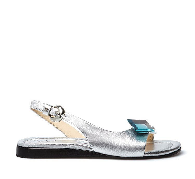 Exquisite calfskin sandals with plexi stone
