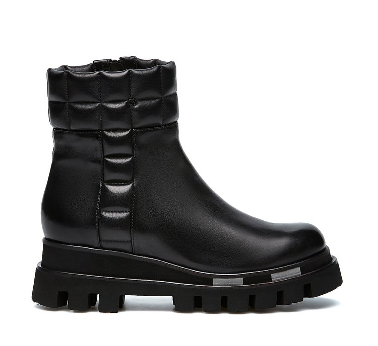 Soft nappa leather biker boots