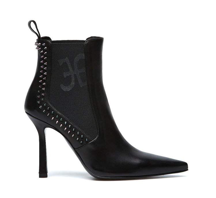 Calfskin ankle boots with Fabi logo