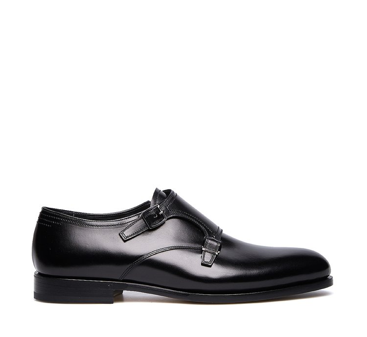 Double monk strap shoes in exquisite calfskin