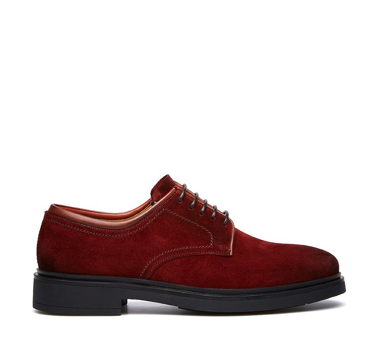 Suede calfskin lace-ups