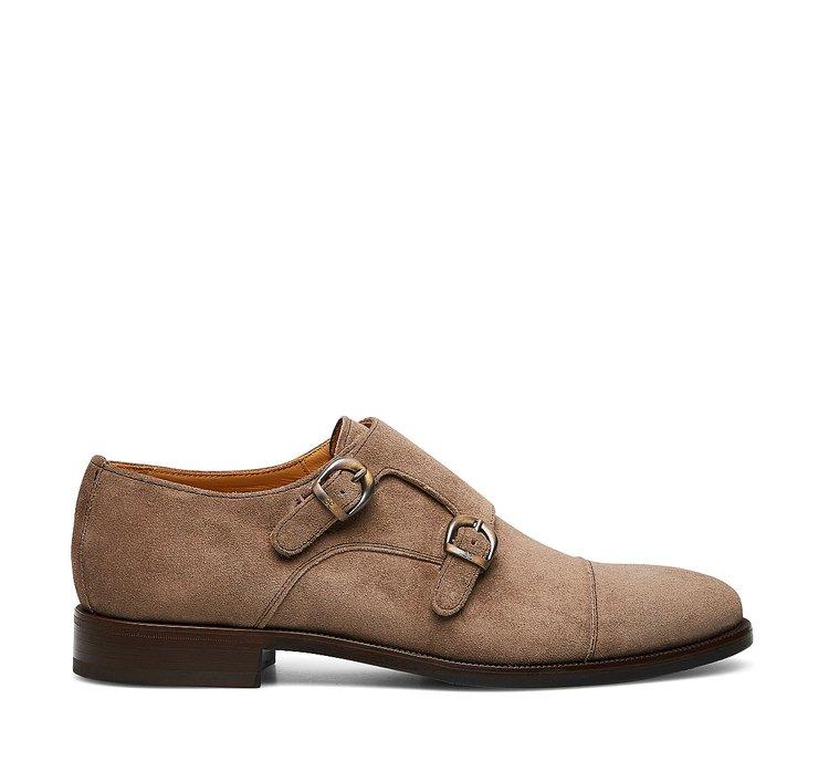 Double monk strap suede shoes