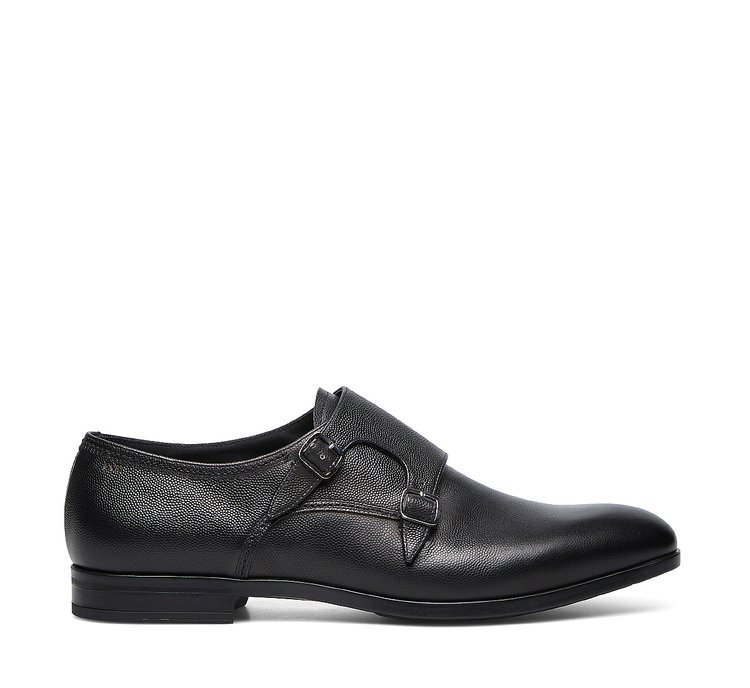 Double monk strap calfskin shoes