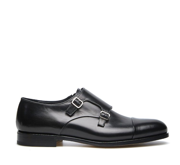 Double monk strap model in calf leather