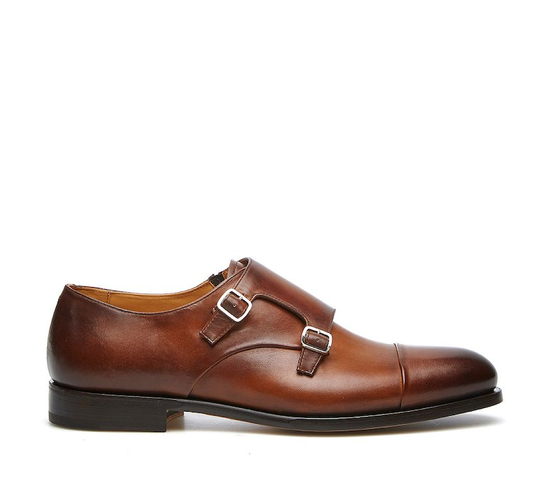 Double monk strap model in high-quality hand-buffed calf leather