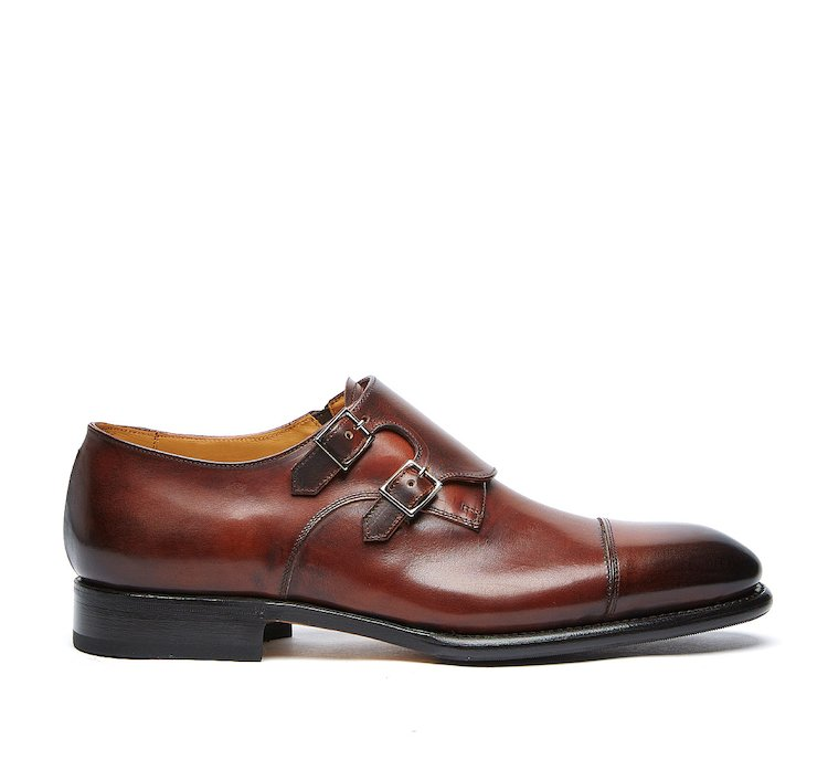 Flex Goodyear monk strap shoes in luxury calf leather buffed by hand