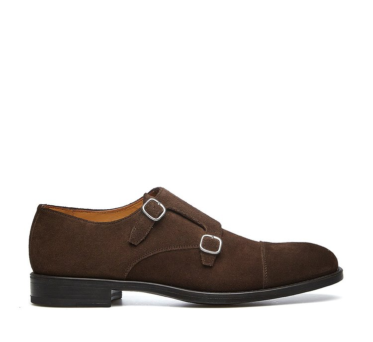 Double monk strap shoes in suede