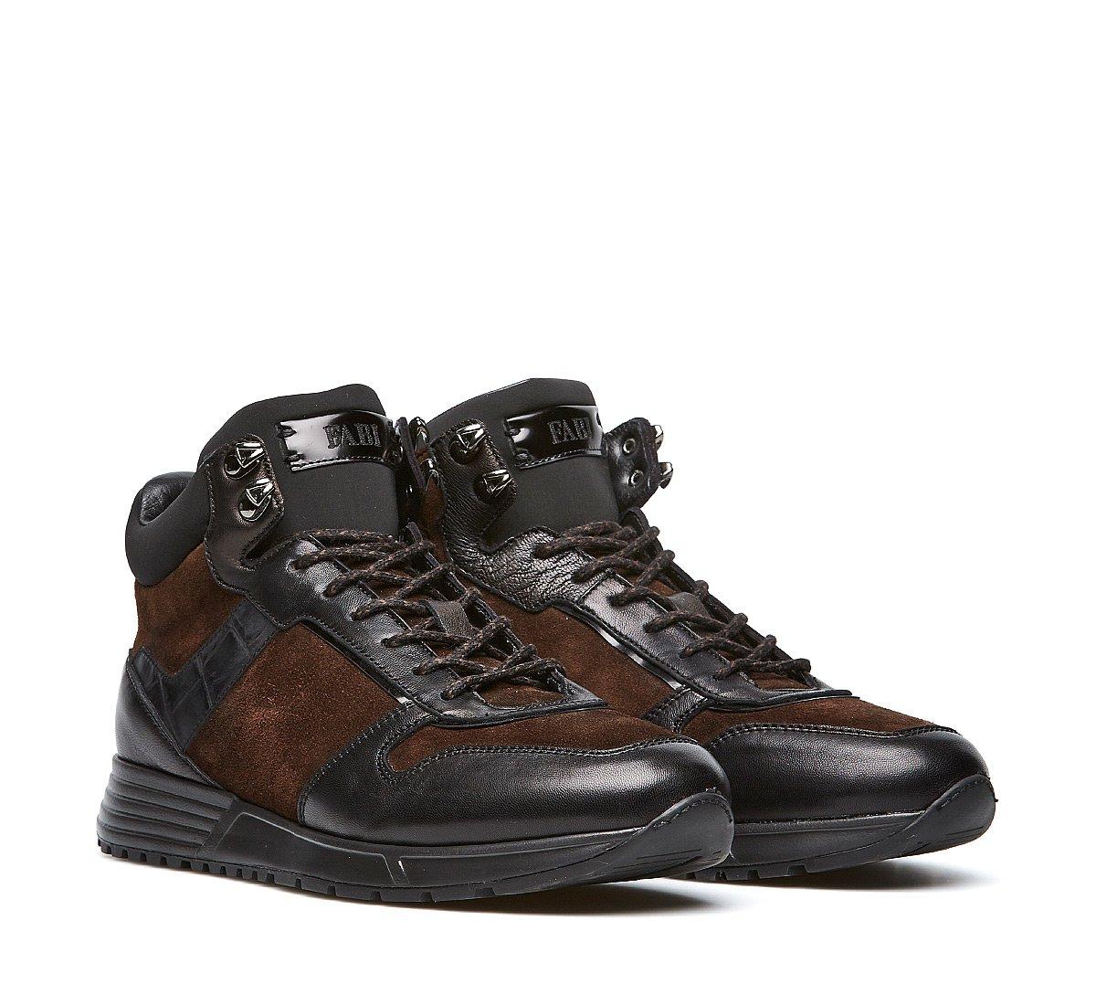 High-top sneakers in soft calfskin