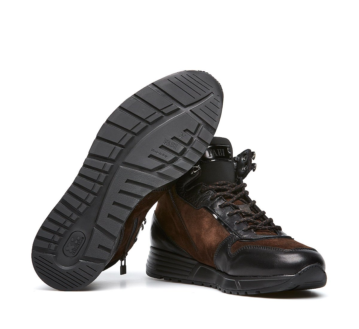 High-top sneakers in soft calfskin