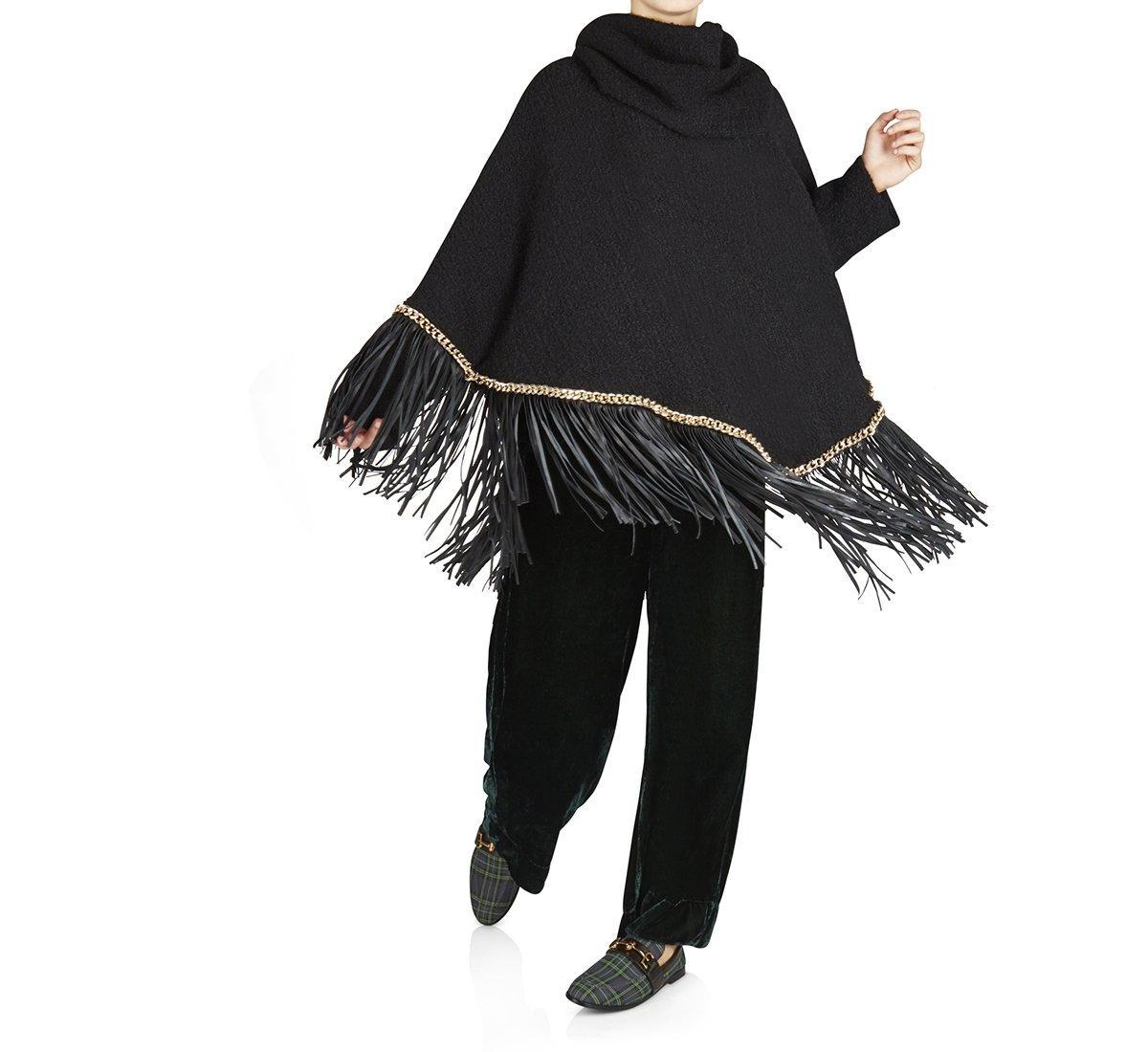 Poncho in morbida lana e tessuto