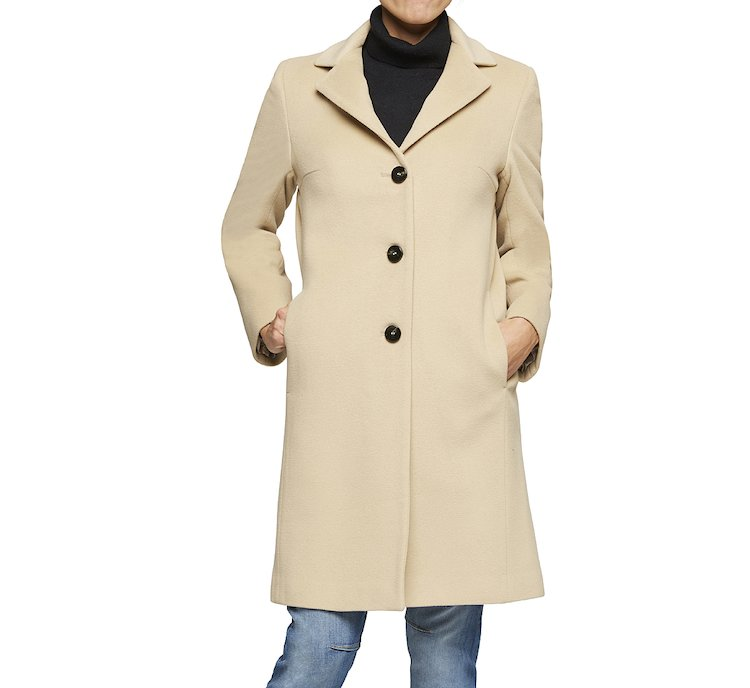 Coat with lapel collar in wool and fabric