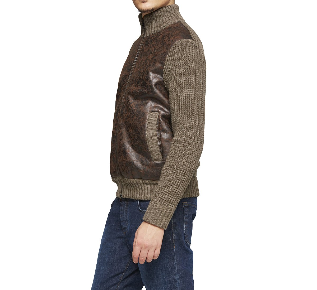 High neck cardigan in warm wool
