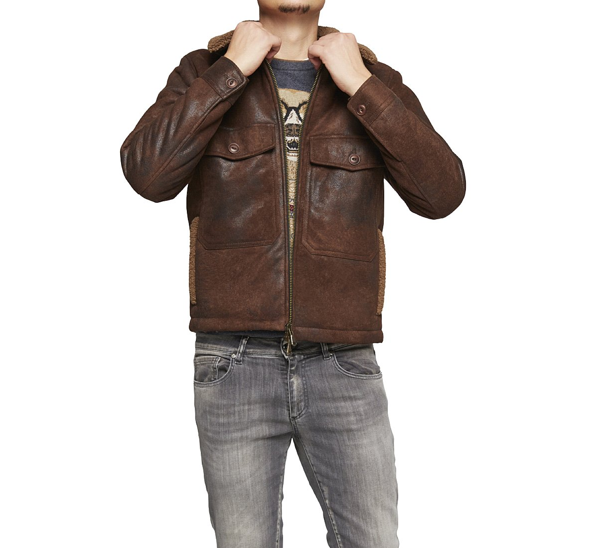 Fabric aviator jacket