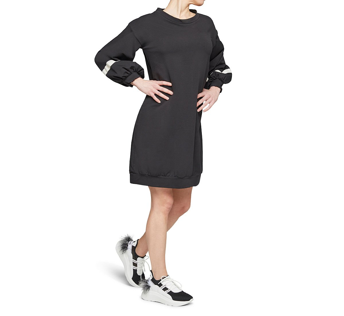 Knee-length dress in cotton