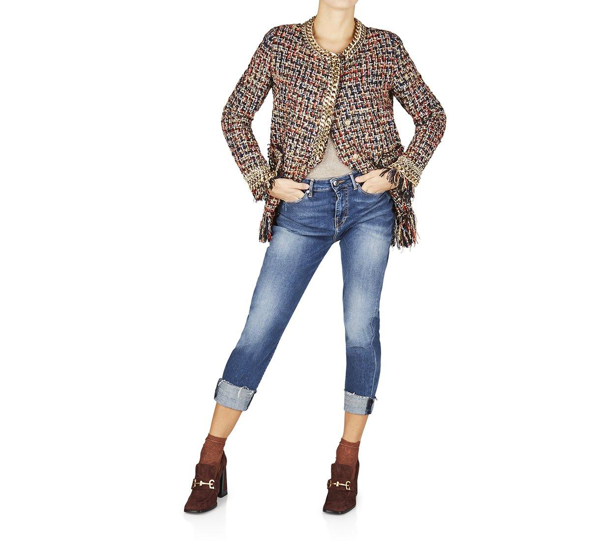 Jeans a vita alta in cotone