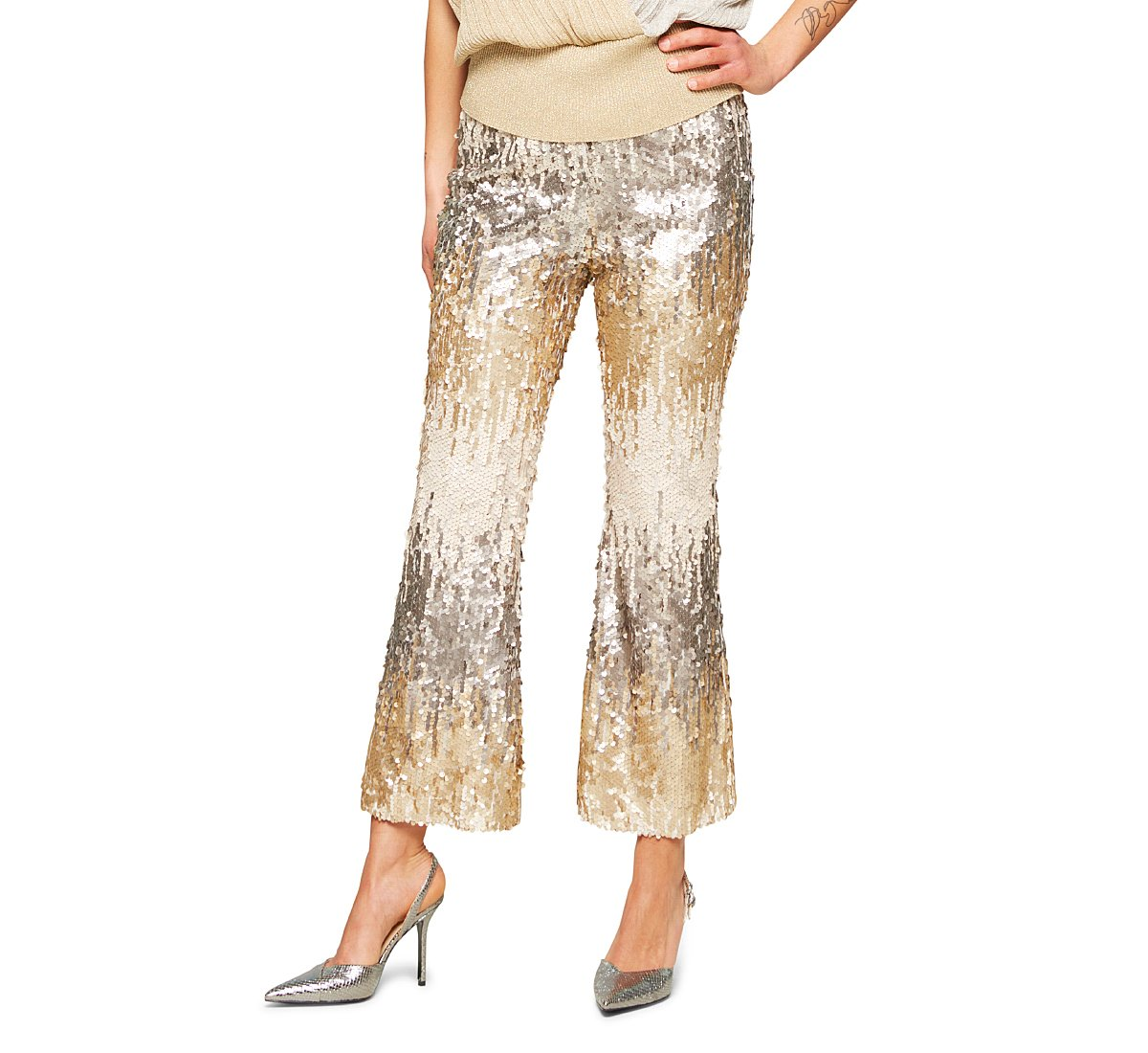 Flared fabric trousers