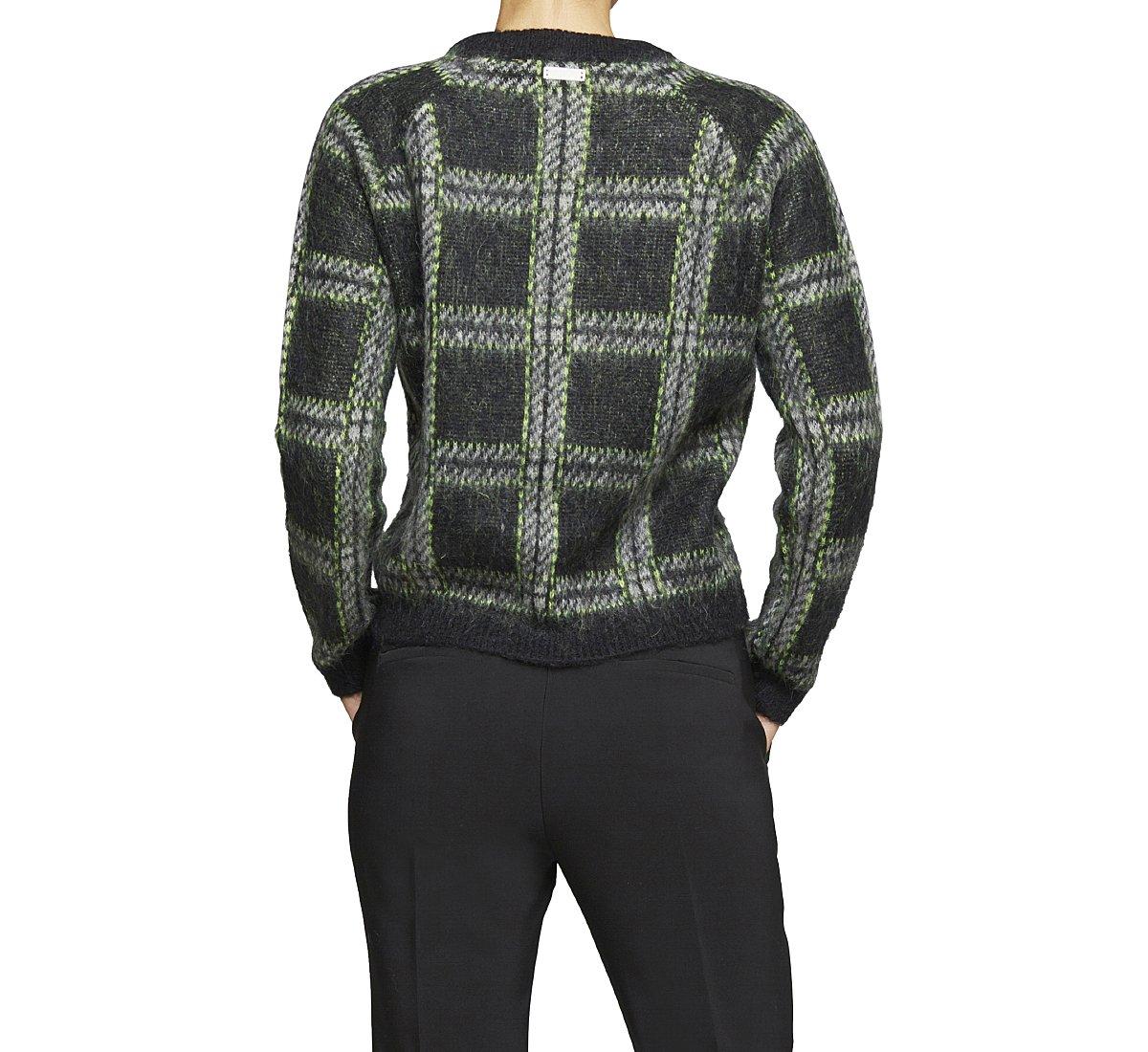 Пуловер в клетку из шерсти и ткани