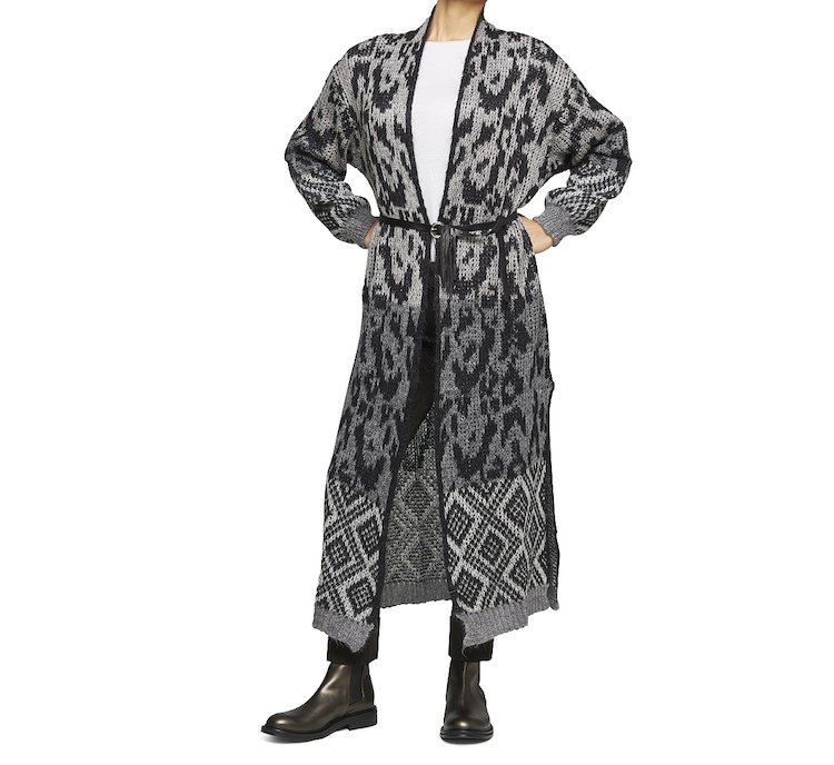 Cardigan aperto in calda lana e tessuto