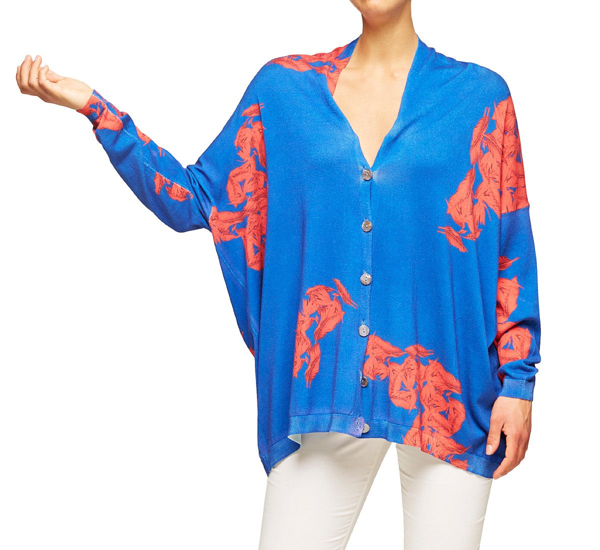 Extra-large cotton and viscose cardigan