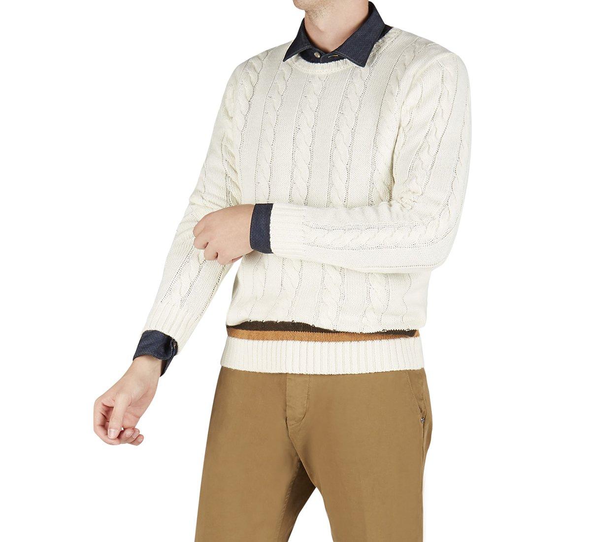 Maglione girocollo in lana e tessuto