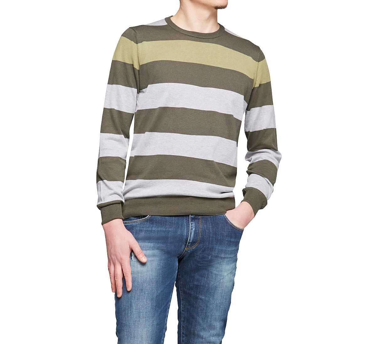 Crew-neck sweater in soft silk