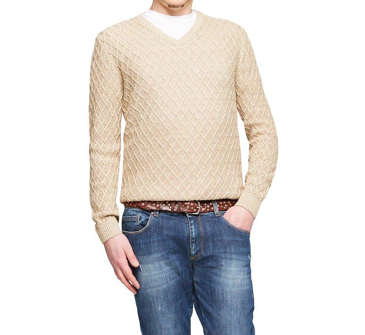 V-neck cotton pullover