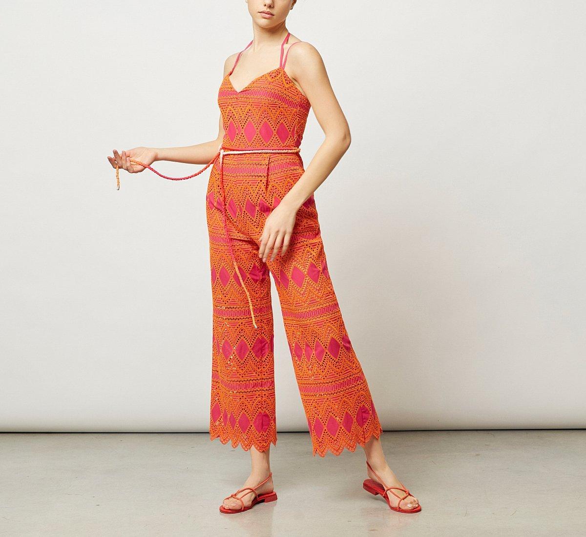 Jumpsuit with thin shoulder straps
