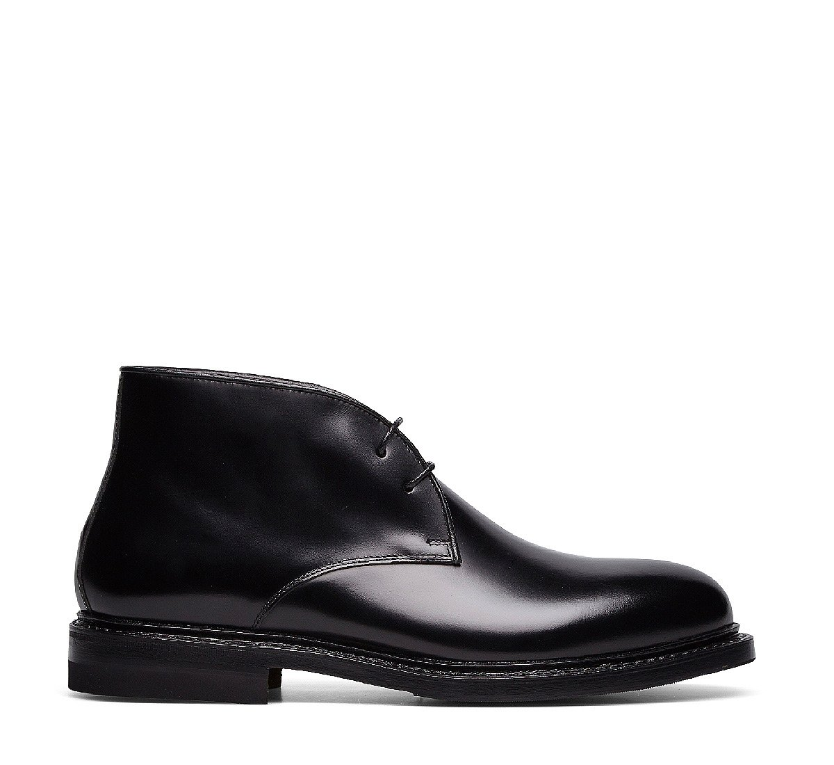 Two-eyelet calfskin ankle boots