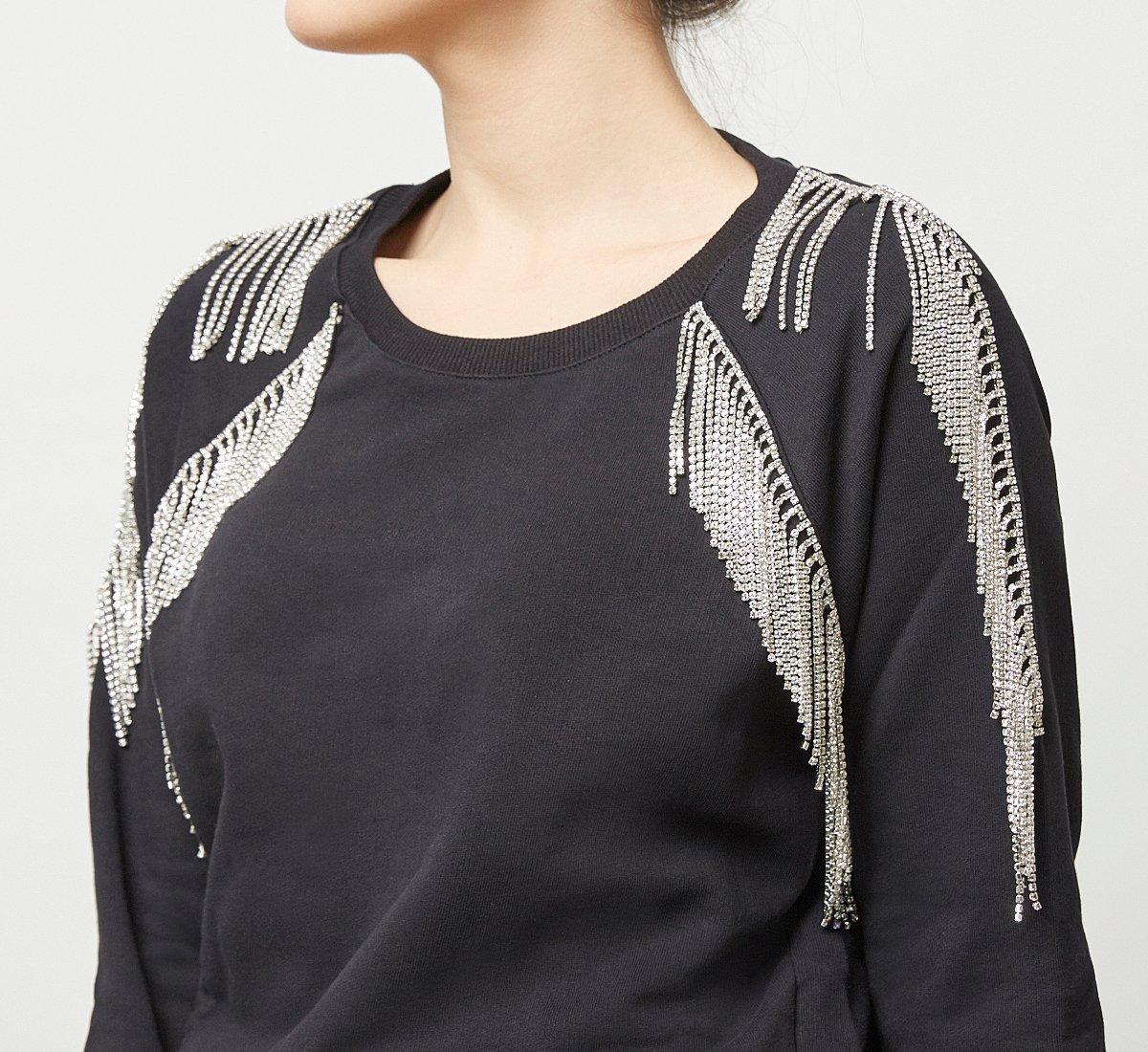 Cotton sweater with rhinestones