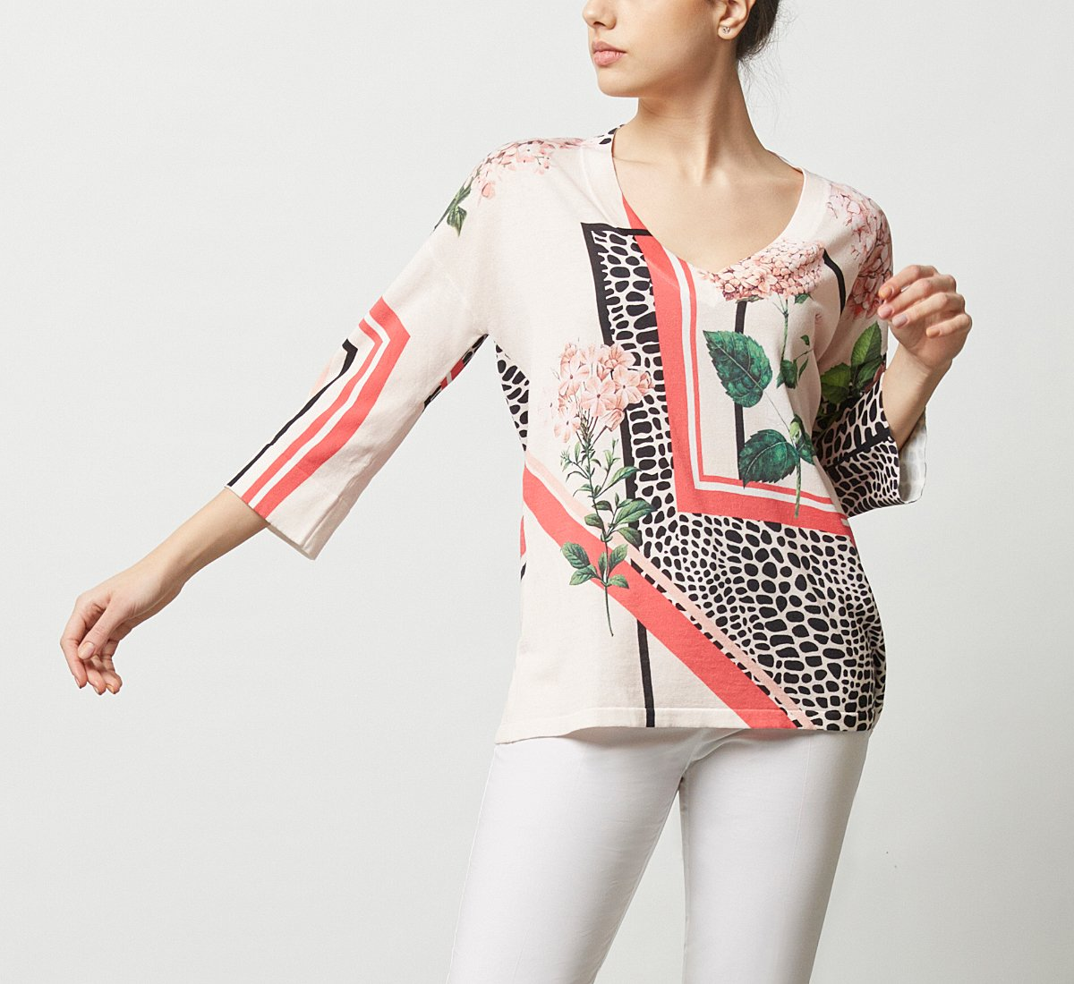 Patterned fabric sweater