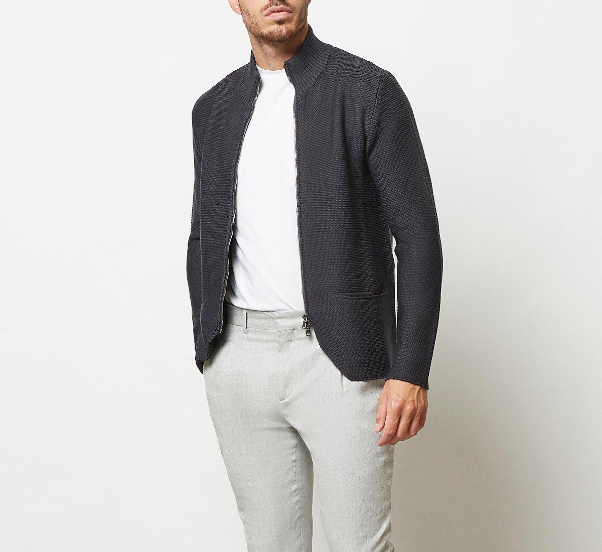 Cardigan con chiusura zip in calda lana