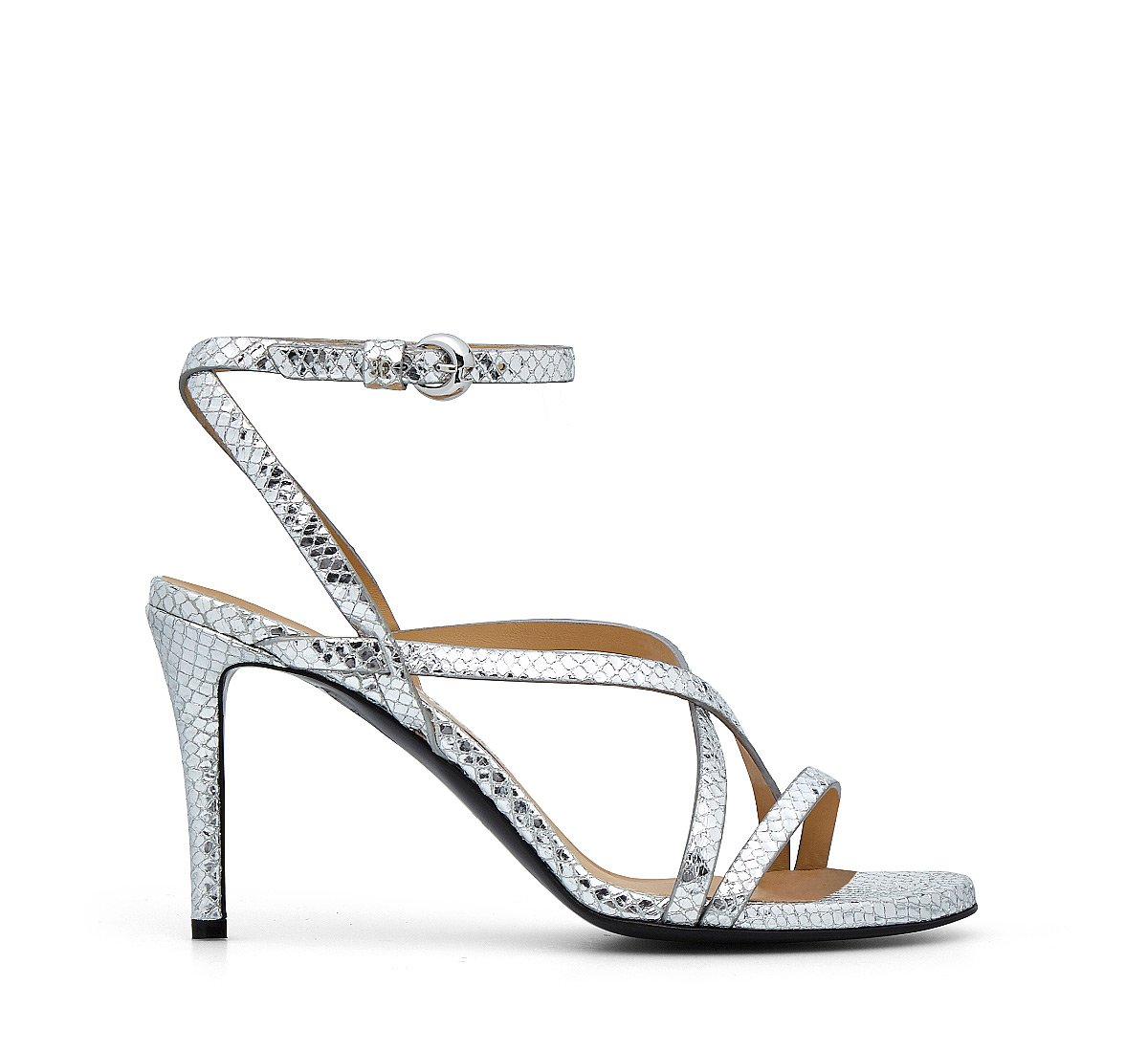 Sandals in reptile-print leather