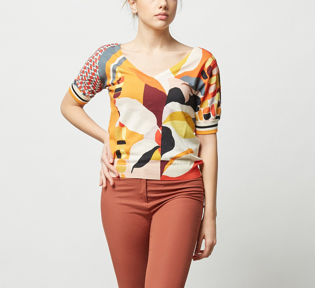 Patterned cotton sweater