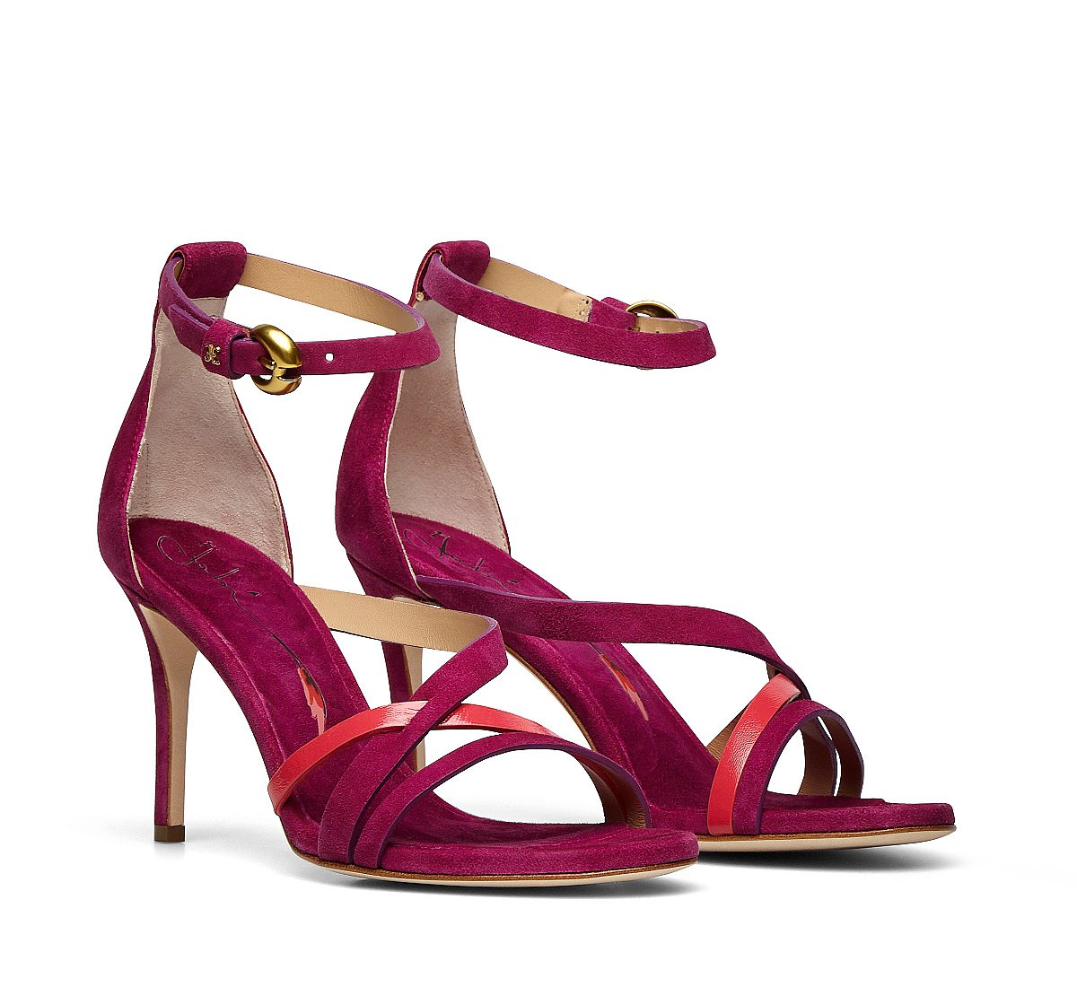Sandalo in suede e pelle lucida