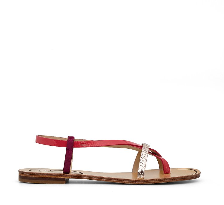 Calfskin and suede sandals