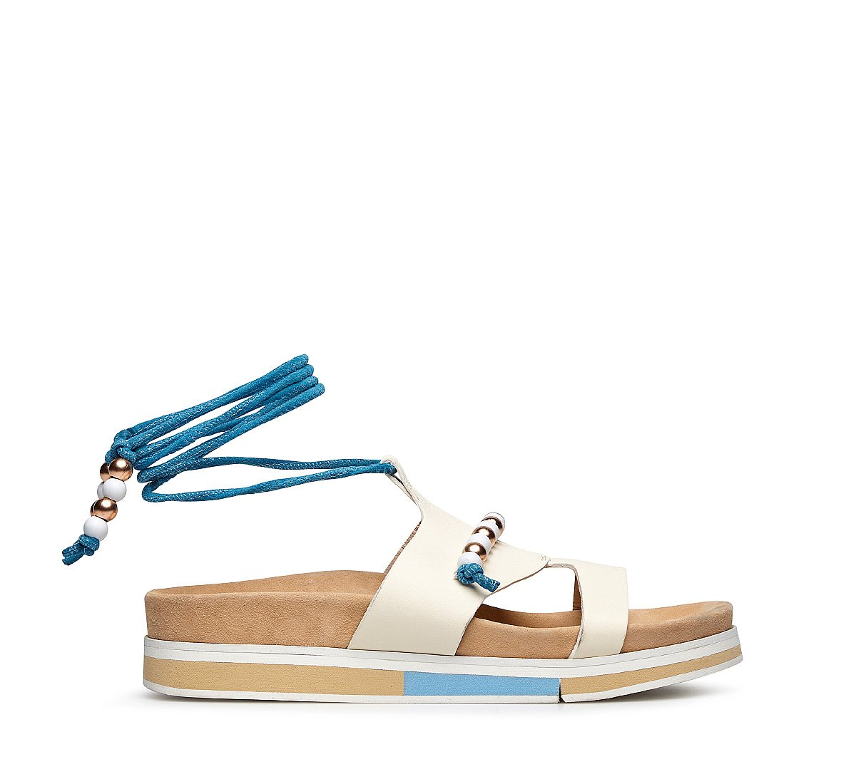 Suede and calfskin sandal