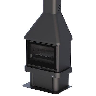 Bronpi Lisboa Mural Wood Fireplace Black Glass Solid Sides