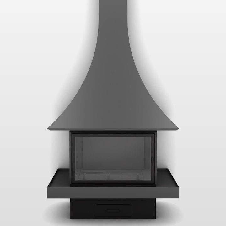 JC Bordelet Julietta 985 Mural Wood Fireplace - Anthracite Grey