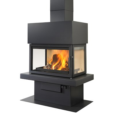LL Calor 15ABC Mural Wood Fireplace Black Box Top