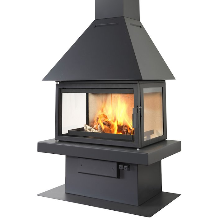LL Calor 15ABC Mural Wood Fireplace Black Low Canopy Top - Black