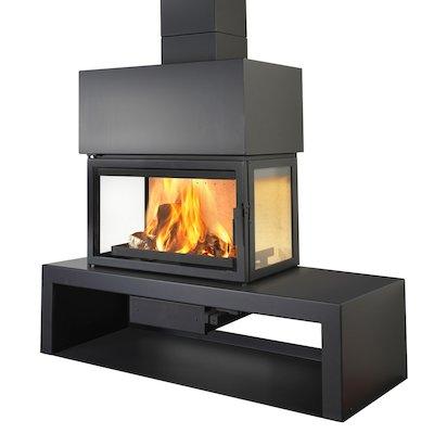 LL Calor 15DE Mural Wood Fireplace Black Left Version