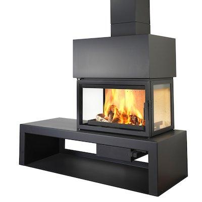 LL Calor 15DE Mural Wood Fireplace Black Right Version