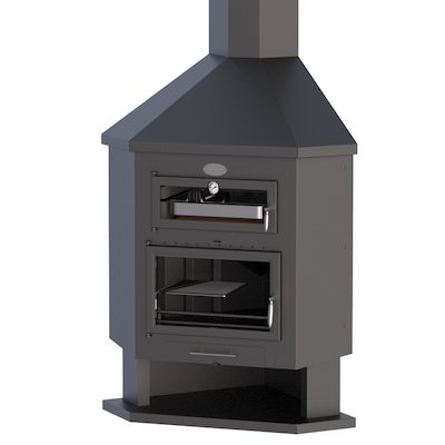Bronpi Ebro-R Corner Wood Fireplace - With Oven