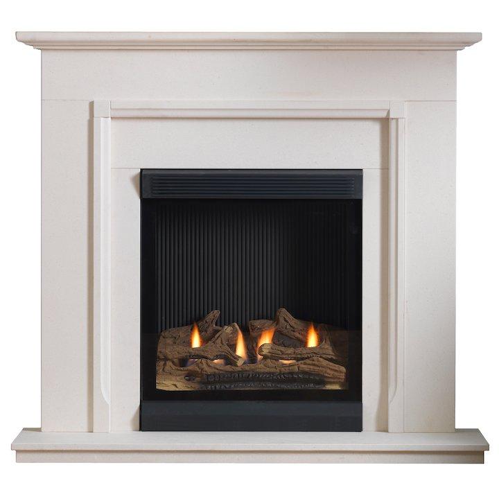 Burley Lynwood Flueless Gas Fireplace Suite Portuguese Limestone Frameless/Edge - Portuguese Limestone
