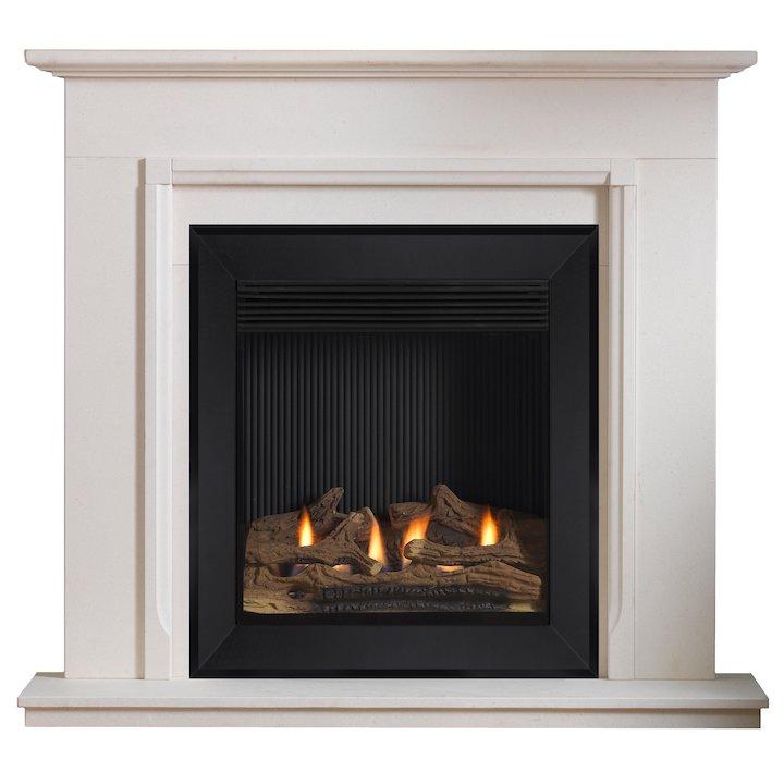 Burley Lynwood Flueless Gas Fireplace Suite Portuguese Limestone Silhouette Trim - Portuguese Limestone
