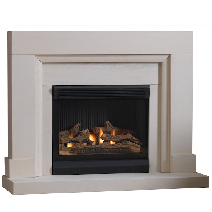 Burley Watersmeet Flueless Gas Fireplace Suite Portuguese Limestone Frameless/Edge - Portuguese Limestone